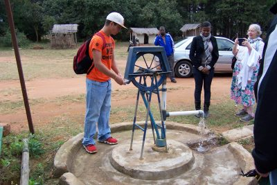 Low cost pump using recycled materials
